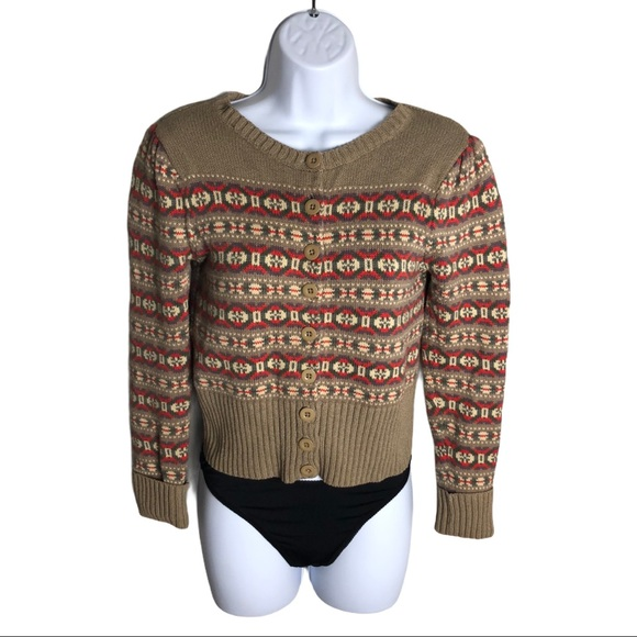 Marc by Marc Jacob Tan Patterned Cardigan Size S